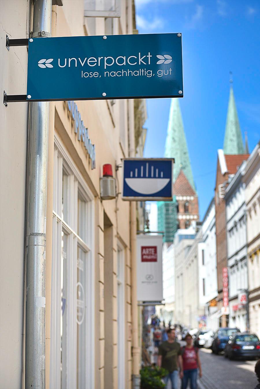 Ladenschild Unverpackt-Lübeck