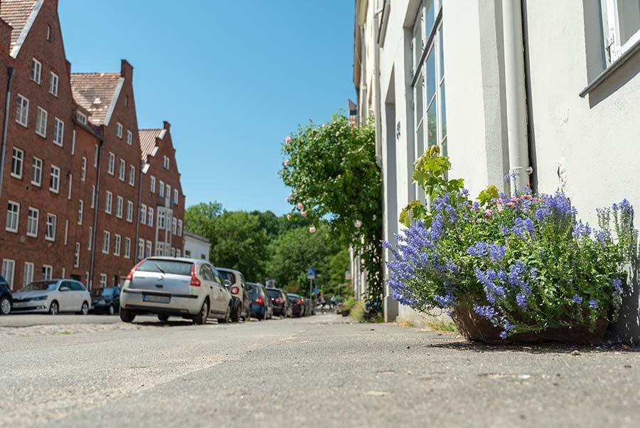 Farbenfrohe Strassen in Lübeck
